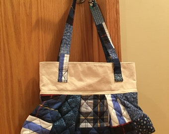 Quilted and Pleated Shoulder Bag. Canvas Top and Liner. Blue.
