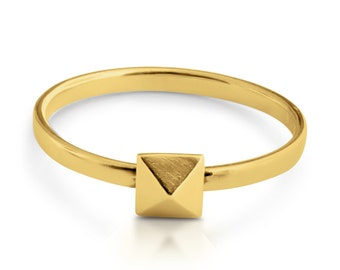 Pyramid Geometric Shape Stackable Ring #14K Gold Plated over 925 Sterling Silver #Azaggi R0530G