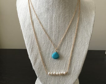 Gold, Turquoise, and Pearl Layering Necklace