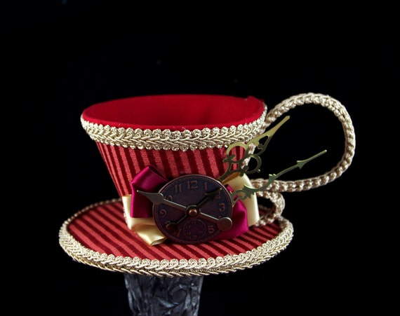 Dark Red and Toffee Striped with Clock Face and Clock Hands Tea Cup Fascinator Hat, Alice in Wonderland Mad Hatter Tea Party, Derby Hat