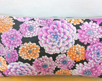 FlowerHandbag / Cosmetic Bag / Zipper Pouch - Upcycled Floral Denim