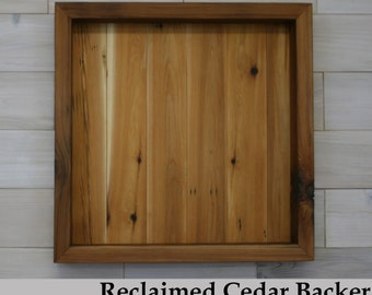 "Reclaimed Cedar Shadow Box 20"" x 20"" x 3"" with open face"
