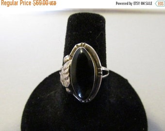 Vintage Ring. Sterling Silver Ring, Black Onyx, Hallmarked Mexico 925, Collectible Jewelry