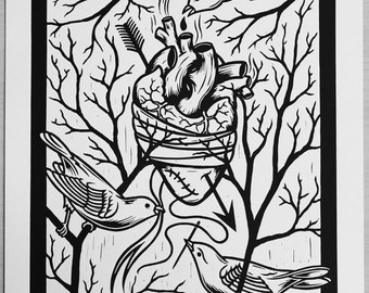 The Heart - Linocut, Signed and Numbered Edition of 100