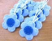 10 blue flower decorations, baby blue daisy ornaments, boy baby shower nursery decor, blue wedding favors, blue party favors