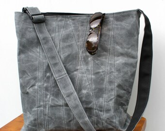 Grey Waxed Canvas Tote Bag with Adjustable Strap