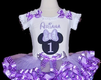 Cake Smash Set, Minnie Mouse Birthday Tutu, Minnie Mouse First Birthday, Minnie Mouse Lavender tutu outfit , personalized birthday outfit,
