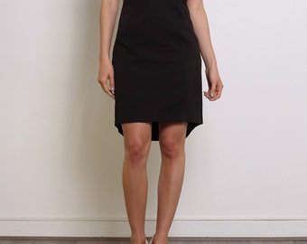 Sleeveless Black Bimaterial Dress.