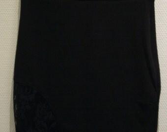 Straight Black Crepe Skirt, Midi Length.