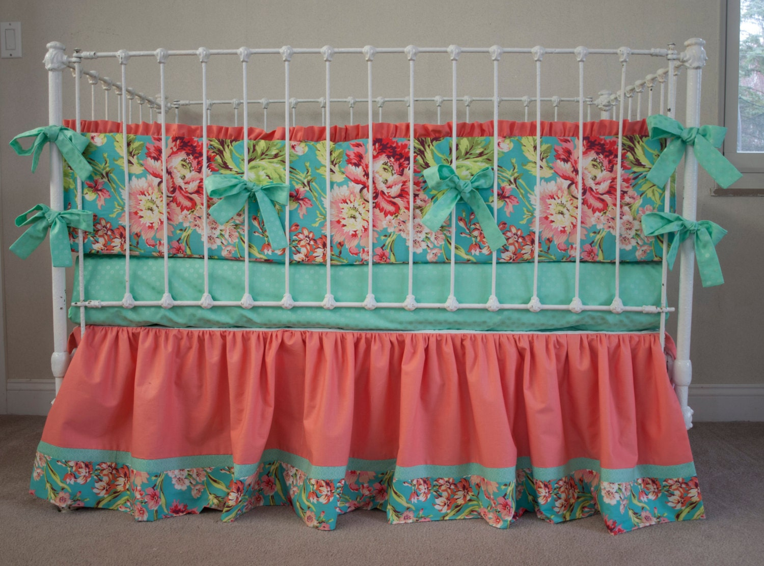 Floral Aqua Teal Mint and Coral Baby Girl Crib Bedding