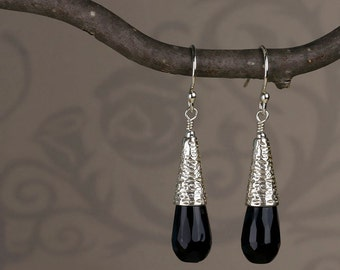 Black Onyx Teardrop Earrings with Sterling Silver Textured Cones - Modern Classic Black Onyx Earrings - 00254 - allotria - MADE TO ORDER