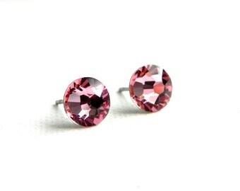 SALE - Swarovski Crystal Stud Earrings - Light Rose