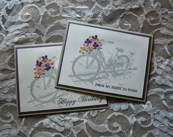 Handmade Greeting Card: bicycle, choice of 2 greetings