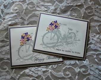 Handmade Greeting Card: bicycle, choice of 2 greetings