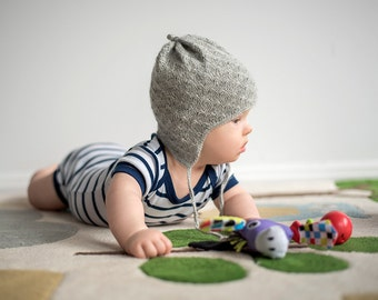 Alpaca Earflap Baby Hat - Light Grey
