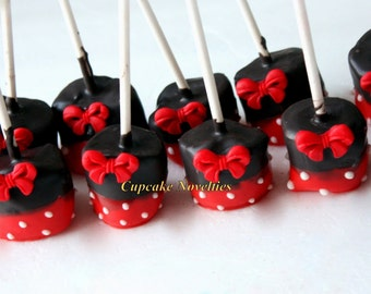 Red Black Birthday Party Favors Red Black Polka Dots Bows Cookies Chocolate dipped Marshmallows Red Black Pink Black Polka Dots Bows Cookies