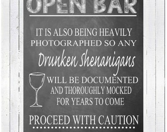 INSTANT DOWNLOAD Open Bar Sign, Wedding Sign, Alcohol Sign, Wedding Reception Sign