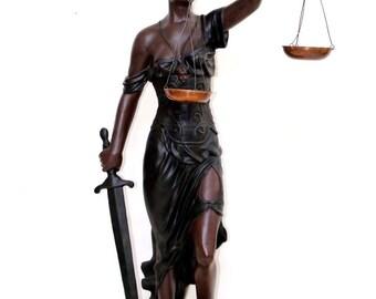 "Tall 58"" Greek Goddess Blindfolded Themis Justice Blind Statue Large Sculpture"