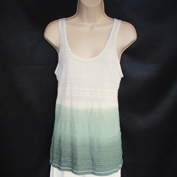 Hand Dyed Ombre Dip Dye Lace Tank Top in Muir Green
