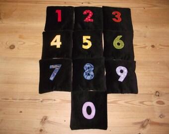 Rainbow velvet Montessori sensory Numbered counting educational beanbags set of 10