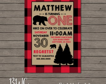 Lumberjack Birthday Invitation, Woodland Invitation, Plaid Flannel Invitation, Rustic Kids Birthday, Printable Invitation, Digital File