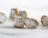 quartz earrings / crystal quartz / druzy earrings / gemstone earrings / tiny studs / stud earrings / crystal earring / post earrings/mineral