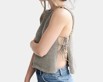 Side Tie Top, Hand Knit Tank Top, Pure Cotton, Side Slits, Summer Top, Made to Order, Open Side Blouse,Cut Out Top,Tie-Side