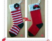 17'' Crocheted Christmas Stocking With Holly Leaves & Berries or Wreath -Holiday Decorative Hanging Ornament Xmas Gift- Custom orders taken
