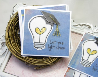 Graduation Cards, Gift Enclosure Cards, Mini Cards, 3x3 Cards, Hat, Tassel, Light Bulb, Congratulations, Let Your Light Shine, Stationery 4