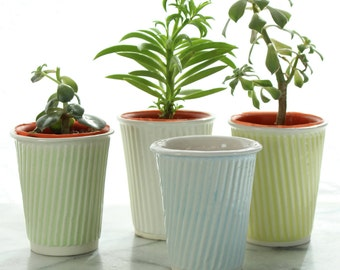 small cactus pot and succulent pot. Plant pot for small gardens and cacti. Cup planters can be used as mini succulent pots or coffee cups!