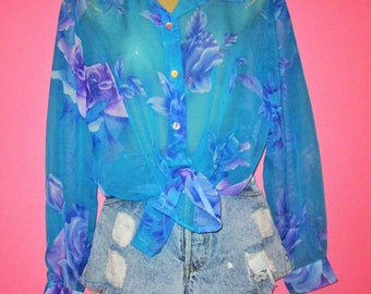 Sheer 90s Tropical Print Button-Up Blouse, Size M