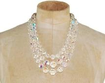 Vintage Laguna Necklace Multi Strand Faceted Aurora Borealis Crystal Signed 1950s Necklace E148