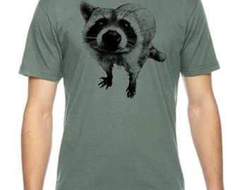 Raccoon Is Ready For His Close-up Graphic American Apparel Fine Jersey T-shirt Rc14085