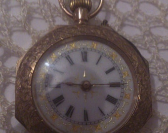 9ct gold vintage ladies pocket watch FREE SHIPPING !!!