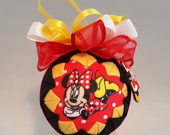 Minnie Mouse Fabric Quilted Ornaments, Hostess Gifts, Secret Santa, Grab Bag Gifts, Girls, kids, Christmas ornaments, Decorations, Deco