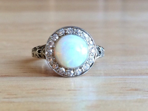 Opal Engagement Ring Vintage 14kt White Gold Diamond Halo