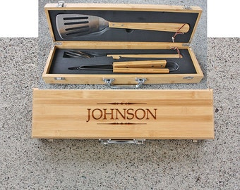 SHIPS FAST, Personalized Grill Set, Personalized Fathers Day Gift BBQ Set, Custom Engraved Fathers Gift for Grilling, Gift for Dad, BBQ02