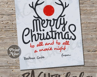 Christmas Redbox Code, antler red nose, teacher movie night gift tag, neighbor last minute gift, printable template instant digital download