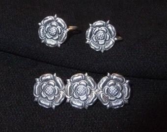 Norwegian 830S Silver Trondheim Rose Screw Back Earrings & Brooch, Norway
