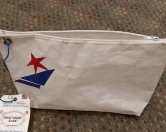 Dop-let, a cross between dop-kit and wristlet; recycled sailcloth.