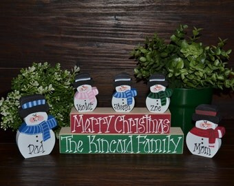 Personalized Christmas Decor Snowmen Holiday Block Set Personalized Christmas Decoration Personalized Holiday Wedding Gift Seasonal Decor