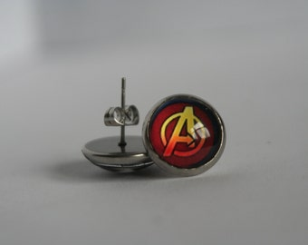 CLEARANCE 12mm Stainless Steel Avengers Stud/Post Earrings