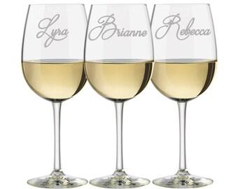 Personalized Wine Glasses, Wedding glasses, Bridesmaid Glasses, Maid of Honor Glasses, Laser engraved wine glasses