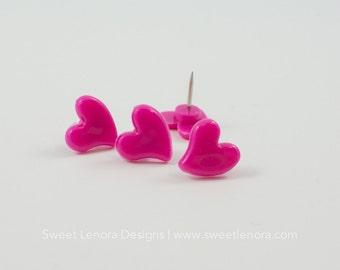 Hot Pink Heart Thumb Tacks | Extra Push Pins for Travel Map | Cork Board Travel Map | Thumb Tack