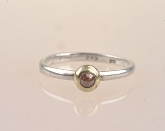 Rose cut coloured diamond, 14ct recycled gold with silver band. Boho engagement ring, ethical metal, stack ring.