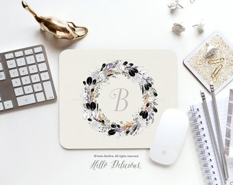 Monogram Mouse Pad Mousepad Floral Peonies Mouse Mat Wreath Mouse Pad Office Mousemat Rectangular Floral Personalized Mousepad Round 75.