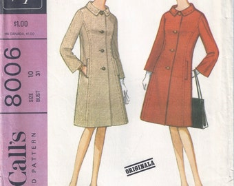 1965 McCalls 8006 Misses' Semi-Fitted Coat Pattern, Size 10