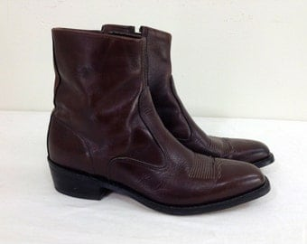 9A Men/ 11 Women - Reddish Brown Leather Ankle Boots