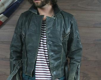 vintage leather biker jacket black medium perfecto style (6)