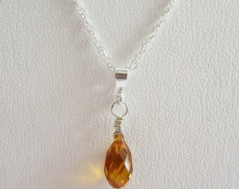 Orange Birthstone Swarovski Briolette Pendant Charm and Necklace